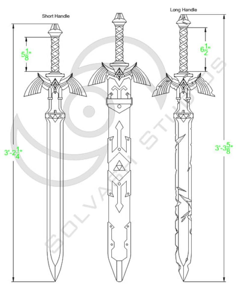 Legend of Zelda BotW: Master Sword + Damaged Master Sword + Scabbard  Cosplay Template