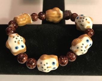 Handmade beaded owl bracelet