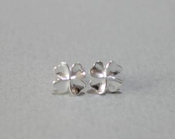 Heart four leaf clover earrings