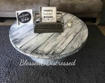 Galvanized Spool coffee table/ Metal coffee table/ Distressed coffee table/Farmhouse Industrial Coffee table /  utility Spool Coffee table