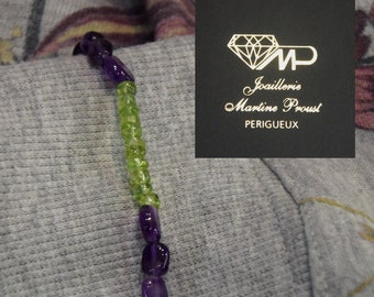 Amethyst and Peridot beads and silver bracelet