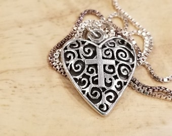 Sterling Silver Heart and Cross Pendant with Sterling Chain