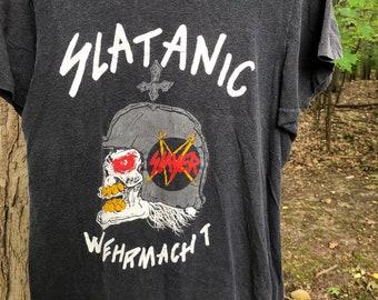 c10b5bb60909 Vintage 1985 Slayer Tour T-shirt Metal Medium Black Exodus Kreator Combat  Ultimate Revenge