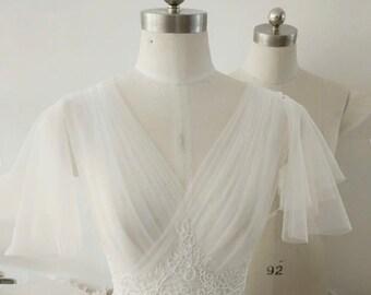 Short Sleeves wedding jacket V-neck Pleated Tulle Bridal bolero lace appliqué