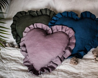 Heart Pillows, Linen pillow, Linen heart pillow, heart shaped pillow, blue pillow, grey pillow, home decor, natural pillow, organic pillow