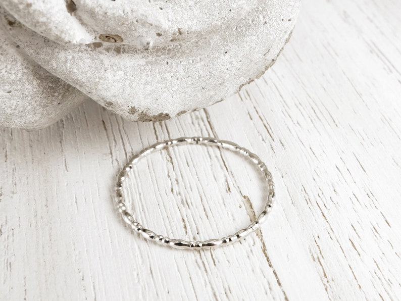 Sterling silver 1mm band ring Textured stacking ring Handmade stackable ring Pretty and romantic silver ring Silver bead ring