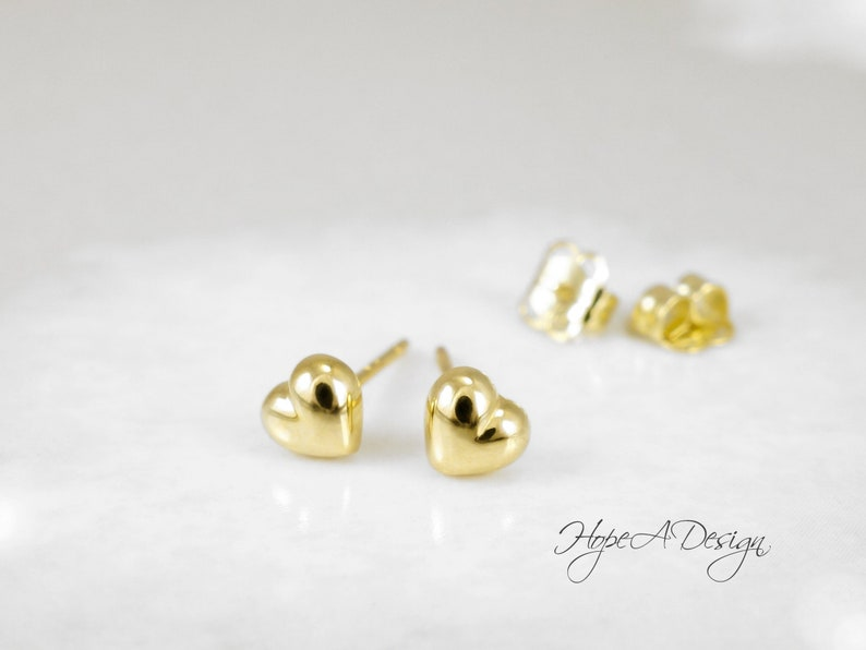 d4570cf1c484e0 Solid gold tiny heart earrings Yellow gold heart stud | Etsy