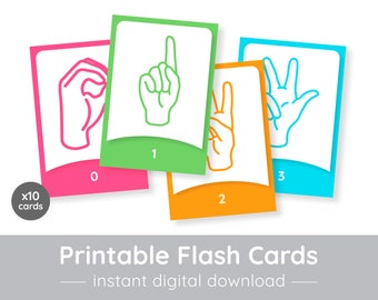 graphic regarding Sign Language Flash Cards Printable known as Asl flash playing cards Etsy