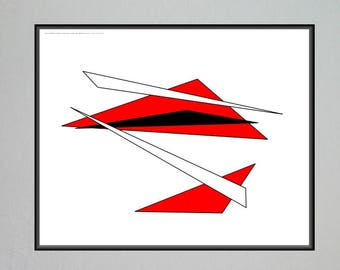 Modern Wall Art,  16x20 inch Poster Print,  Floating Triangles, Contemporary Abstract Wall Decor,     #16x20_001