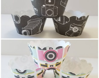 Camera Print Cupcake Wrappers