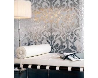 Glass mosaic shower Italian Art Baroque Silver 0,25 m 2