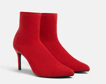 5f767231547 LIMITED EDITION ! ZARA Women Red ankle boots - Flat boots - Rain Boots  Waterproof Like Leather - hiking boots - Christmas boots - Girl boots