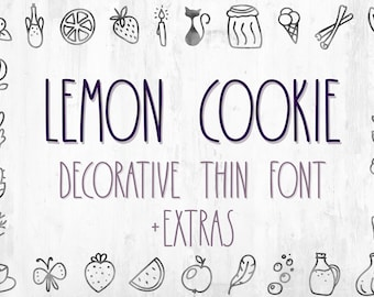 Thin Font Lemon Cookies Handwritten Font With Extras Farmhouse Font Doodle Font Kitchen Font Instant Download Font 41096 Free Modern Fonts High Quality For Design Your Projects