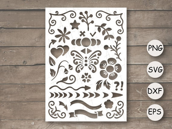 Stencil template SVG, rectangular stencil with ribbon, flowers, butterfly,  cut files, digital download, laser cut, stencil dxf, png, esp