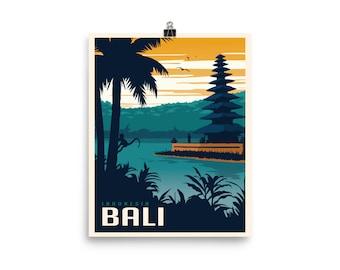 8c9c7aa760cc Bali Indonesia   Vintage-Style Travel Poster   Enhanced Paper Print (Dusk)
