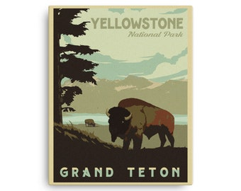 Yellowstone National Park | Grand Teton National Park | Vintage Travel Poster | Canvas (16x20in)