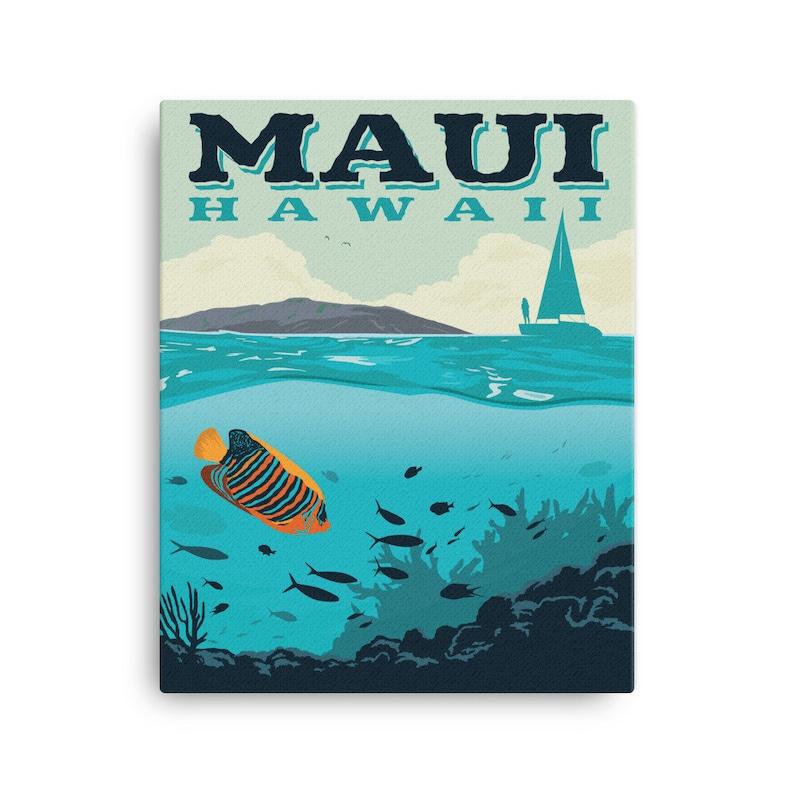 Maui Hawaii  Vintage-Style Travel Poster  Canvas image 0