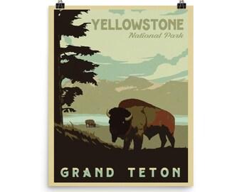 Yellowstone National Park | Grand Teton National Park | Vintage Travel Poster | Enhanced Matte Paper
