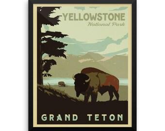 Yellowstone National Park | Grand Teton National Park | Vintage Travel Poster | Framed