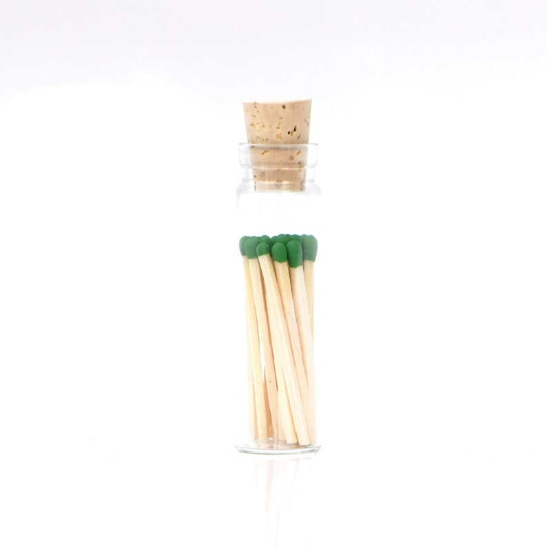Mini Oz Green Color Tip Safety Matches Glass Jar with Cork and image 0