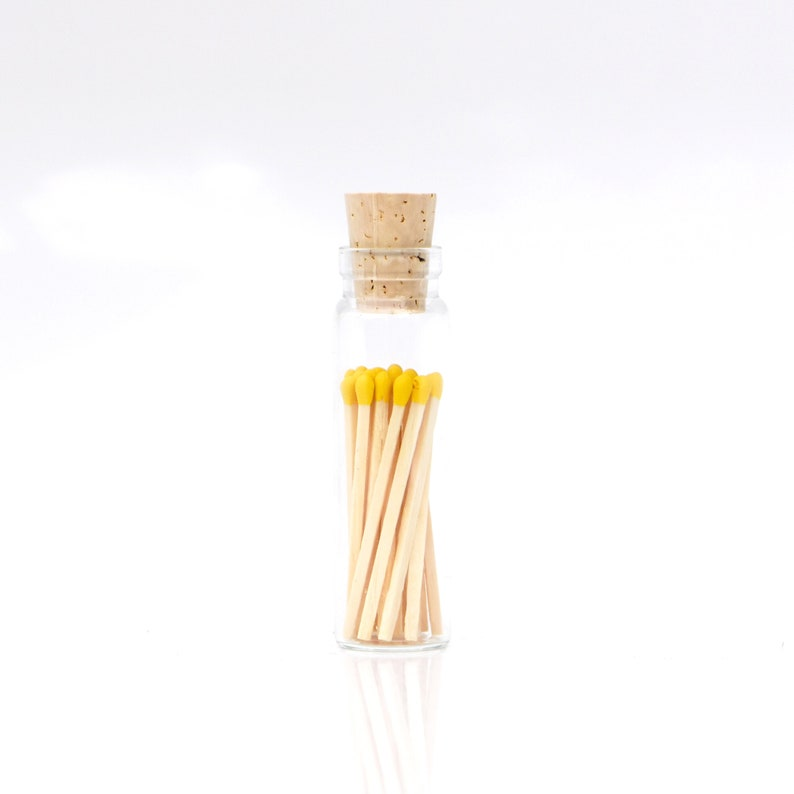 Mini Pineapple Yellow Tip Safety Matches Glass Jar with Cork image 0