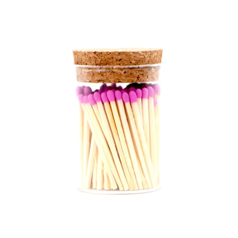 Barbie Pink Color Tip Safety Matches and Striker Modern Glass image 0