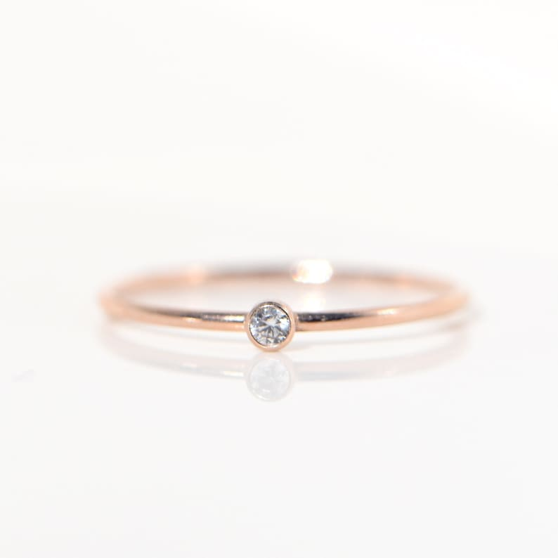Simple Solitaire Tiny Diamond Solid Rose 14k Gold Delicate image 0