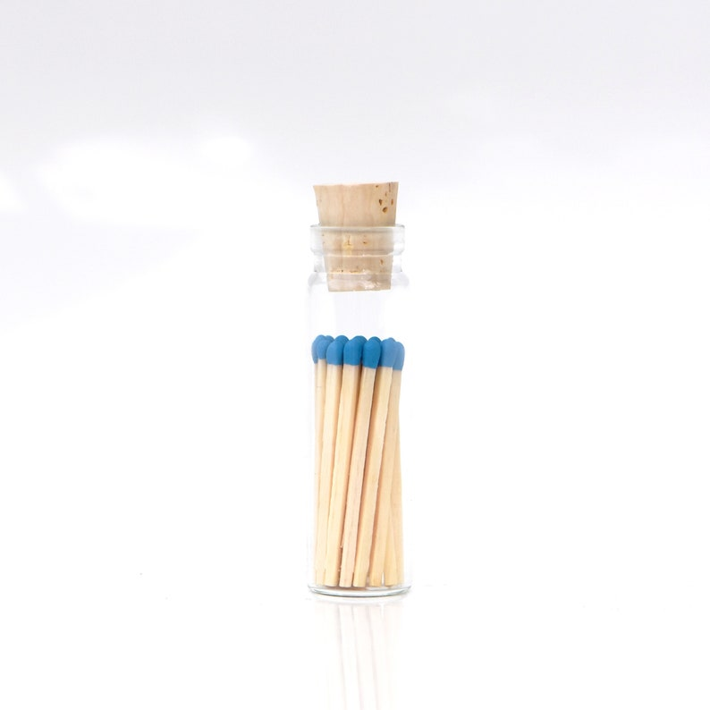 Mini Azure Blue Color Tip Safety Matches Glass Jar with Cork image 0