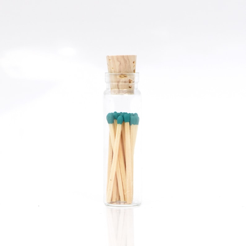 Mini Turquoise Teal Color Tip Safety Matches Glass Jar with image 0