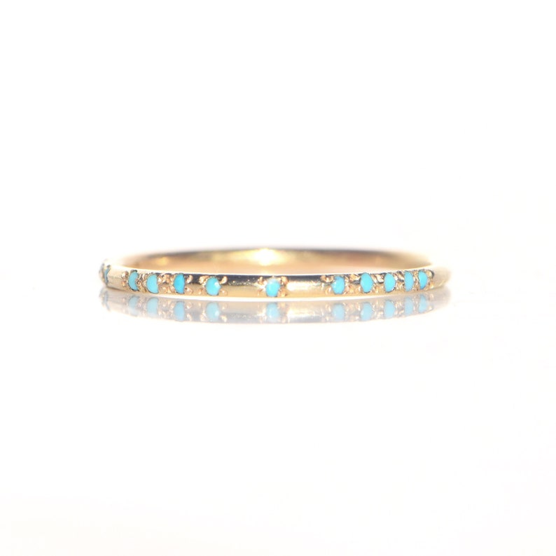 Solid 14k YELLOW Gold and Turquoise Morse Code Ring Custom image 0