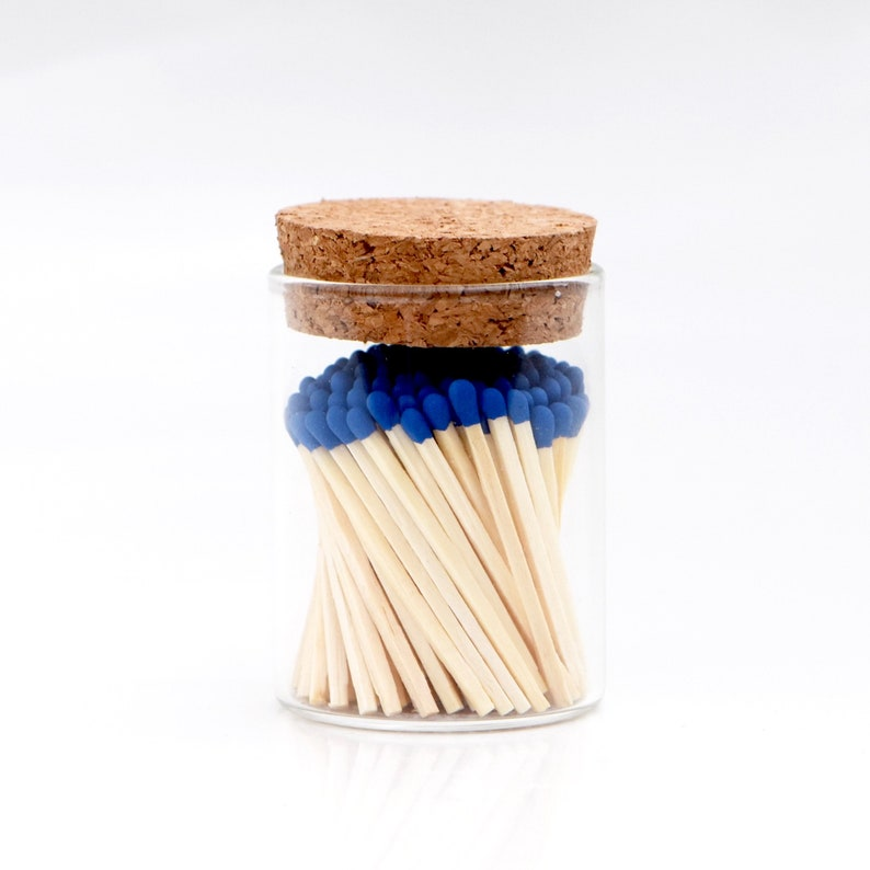 Sapphire Blue Color Tip Safety Matches and Striker in Modern image 0