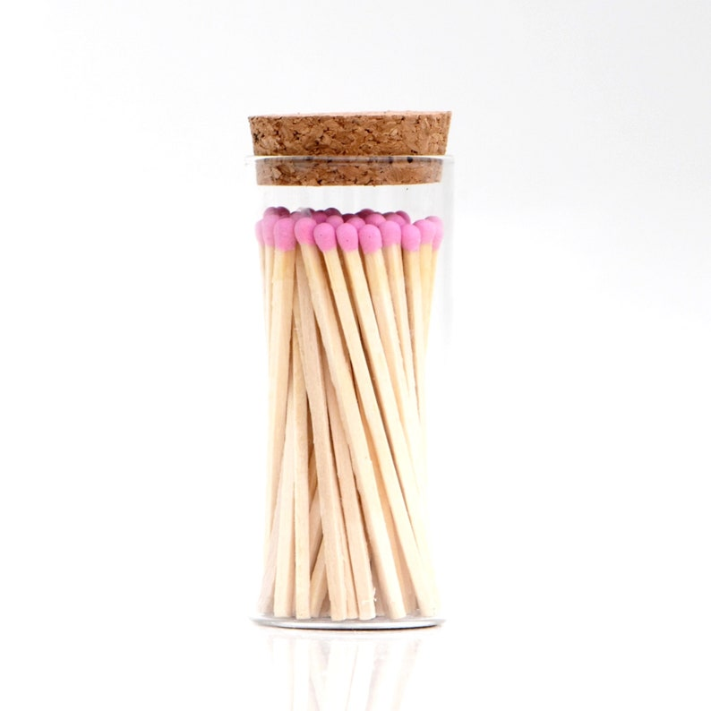 Barbie Pink Color Tip Tall Safety Matches Glass Jar with Cork image 0