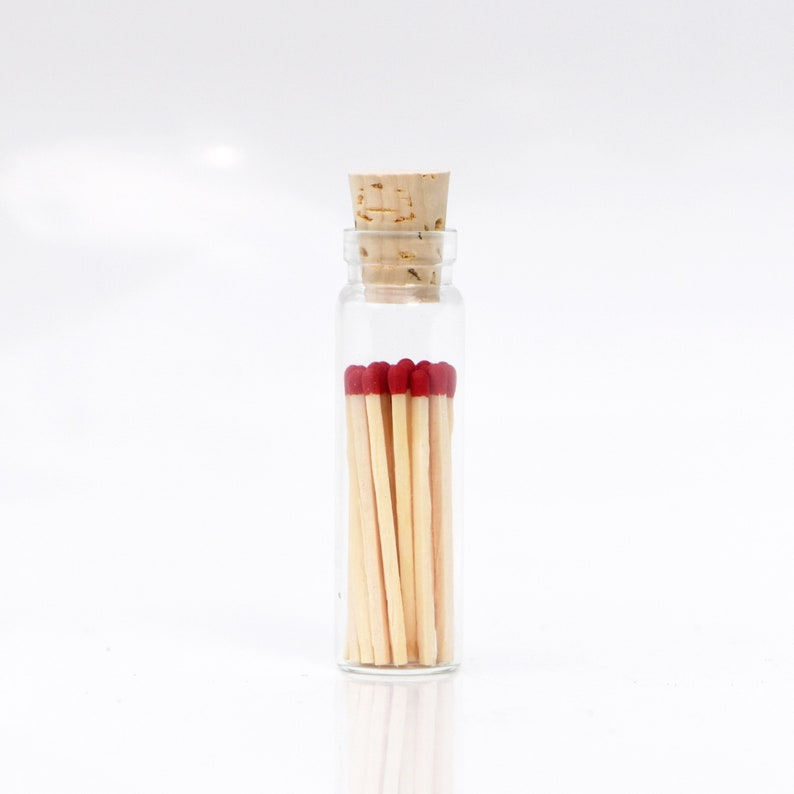 Mini Scarlet Red Color Tip Safety Matches Glass Jar with Cork image 0