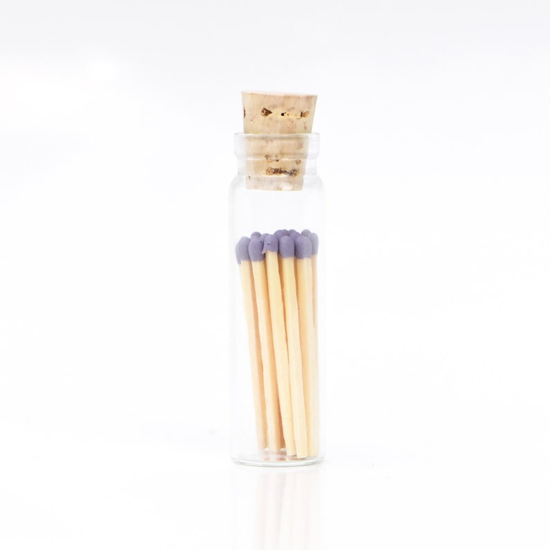 Mini Heather Purple Color Tip Safety Matches Glass Jar with image 0