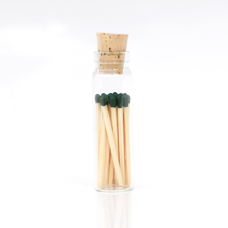 Mini Sacramento Green Color Tip Safety Matches Glass Jar with image 0