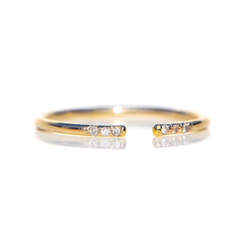 Solid 14k YELLOW Gold GH I1 Diamond Conflict Midi Cuff Split image 0