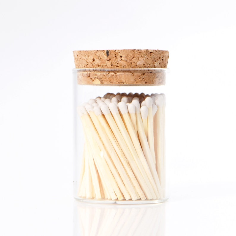 Porcelain White Color Tip Safety Matches Modern Glass Jar Cork image 0