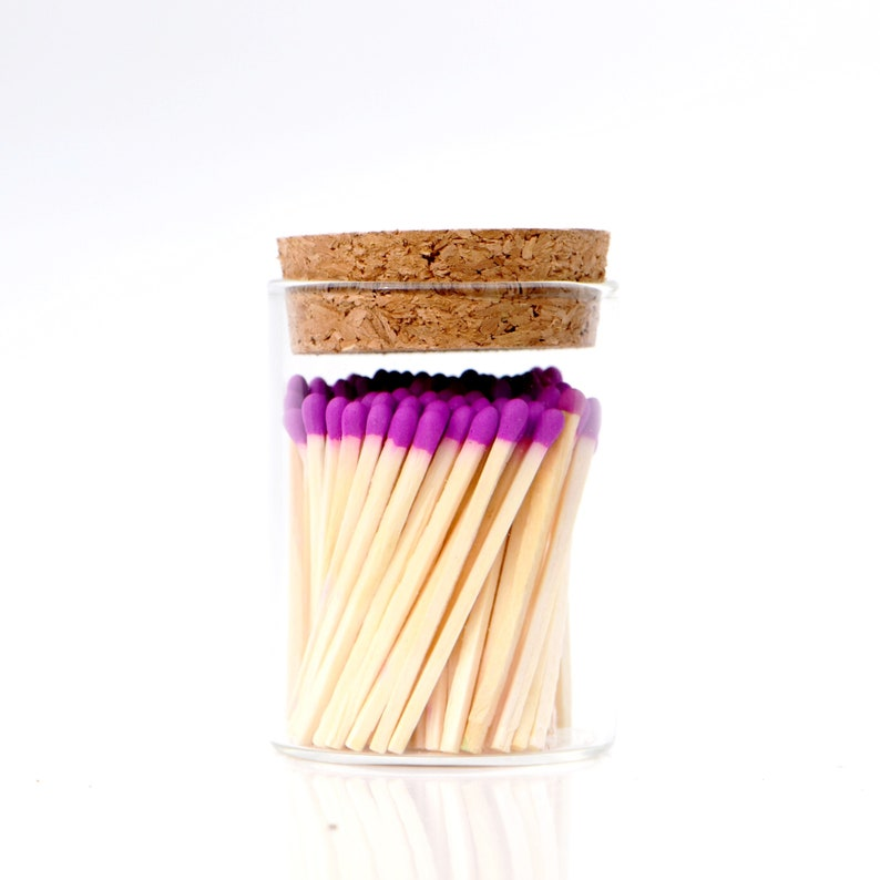 Lilac Color Tip Safety Matches and Striker in Modern Glass Jar image 0