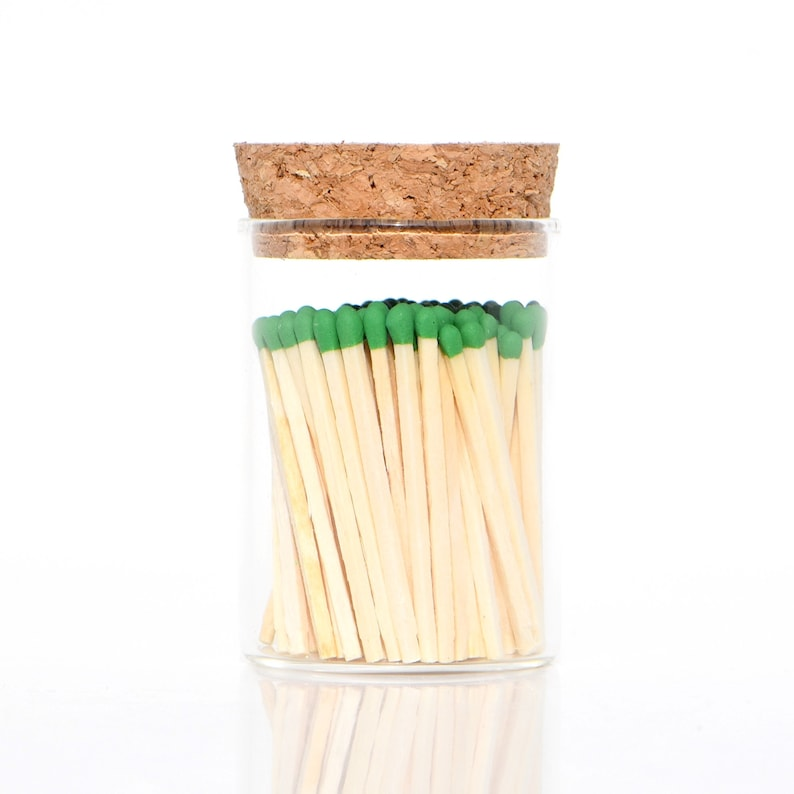 Oz Green Color Tip Safety Matches and Striker in Modern Glass image 0