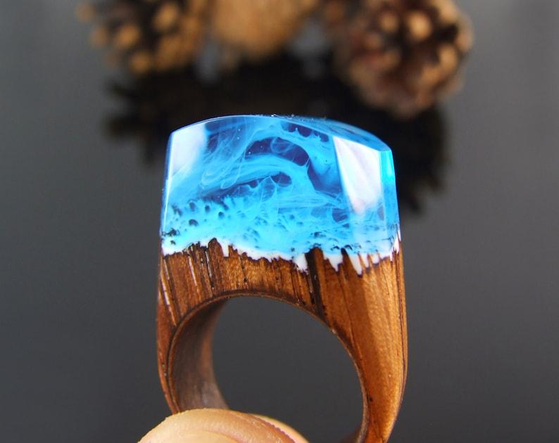 Wooden rings for women secret world inside the ring Secret world inside the ring Wood resin ring Statement ring Wood ring