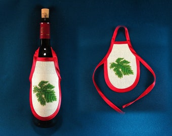Wine Champagne Bottle Apron Cover Handmade Embroidery Leaf