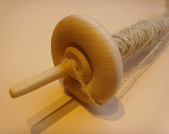Drop Spindle With Wooden Whorl and Wool  Kit
