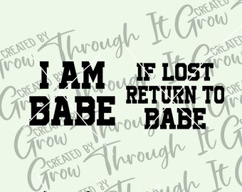 Funny Couples SVG - If Lost Return To Babe - Matching Couples Tshirt SVG - Digital File Only