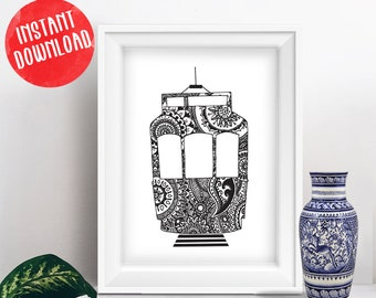 Portuguese Lisbon Tram with Hand drawn mandala black and white printable, instant download wall art