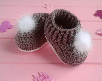 Crochet Baby fur Booties Baby Moccasins Knit fur Boots First Shoes Baby shower Gift,  0-3, 3-6, 6-9 months, baby slippers,  Newborn booties