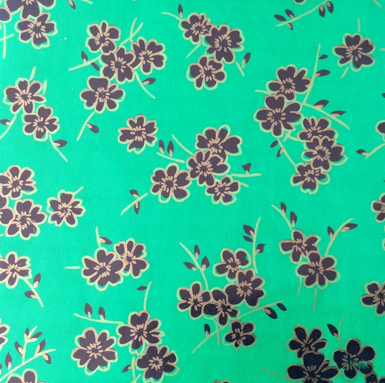 Floral Gift Wrap Vintage Green Gift Wrap with Beautiful Black and Gold Flowers