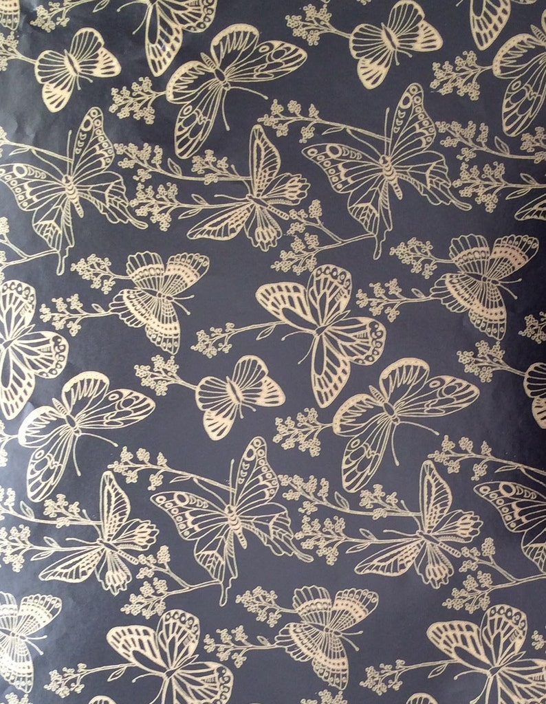 Butterfly Gift Wrap Gold Garden Vintage Paper
