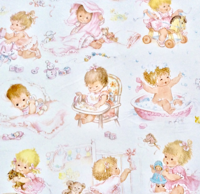 Baby Wrapping Paper Baby Shower Or New Baby Girl Vintage Gift Etsy