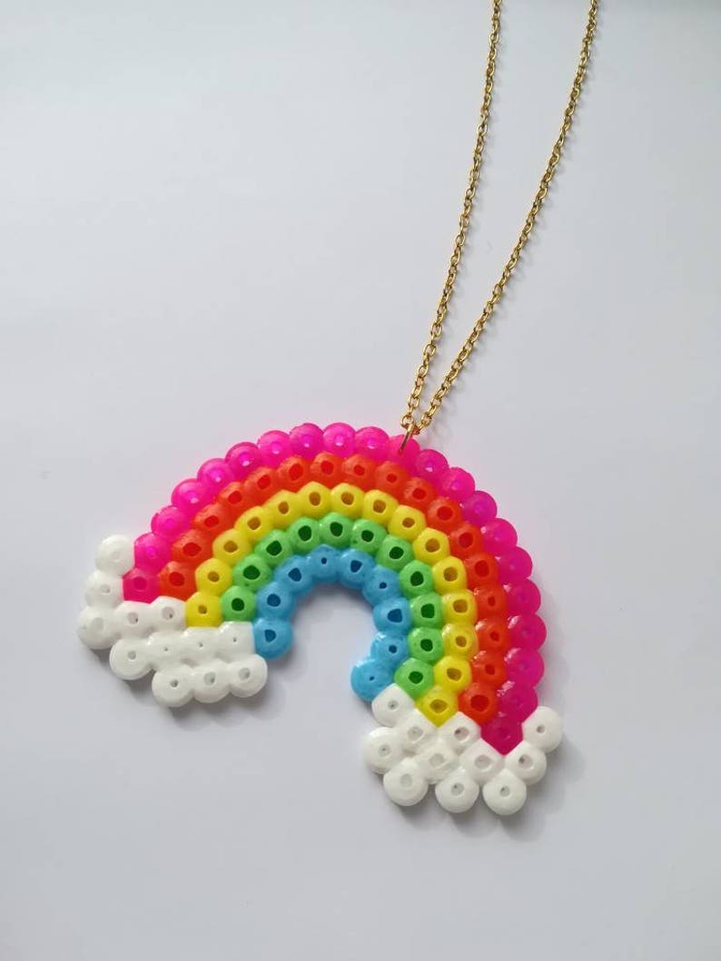 Rainbow Colorful Kawaii Golden Chain Pixel Art Necklace
