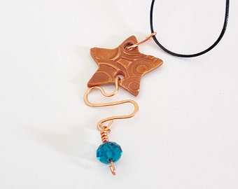 Star necklace, copper star necklace, star pendant, copper star pendant, unique copper jewellery, gift for her, copper necklace,